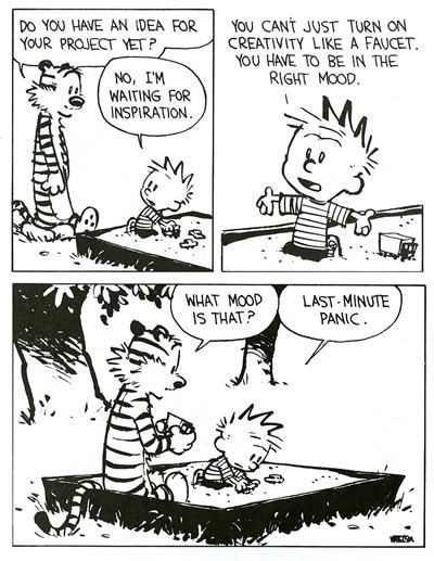 Calvin and Hobbs on procrastination