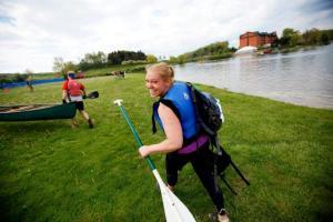 Me following the paddle leg of a run, mt. bike, paddle, swim adventure race.