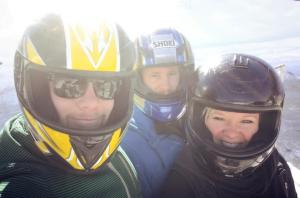 Myself, brother and boyfriend prior to plunging down the bobsled course at Lake Placid.